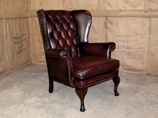 Burgundy Leather Wingback Chair