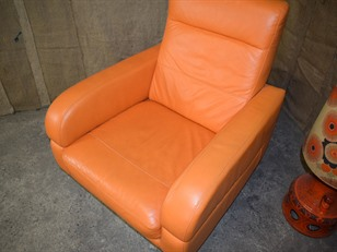 Orange Leather Swivel Chair