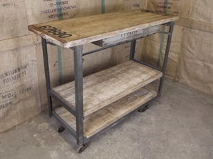 Vintage French Industrial Warehouse Trolley